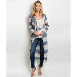 TAUPE NAVY TIE DYE CARDIGAN