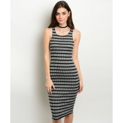 GRAY BLACK RIBBED DRESS