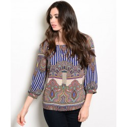 ROYAL TAN MULTICOLOR TOP