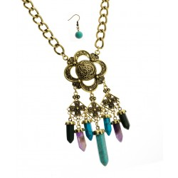 BURNISH GOLD CHAIN & STONES NECKLACE & EARRING SET