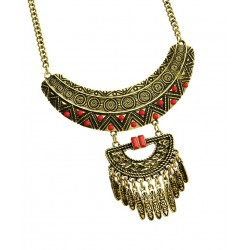 BURNISH RED BIB STYLE CHAIN NECKLACE & EARRING SET