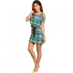 GREEN BROWN MULTICOLOR DRESS