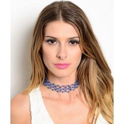 BLUE BEADS CHOKER NECKLACE